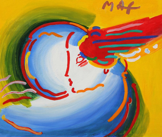 Love the World Unique 1999 27x41 Original Painting by Peter Max