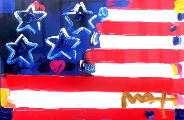 Flag With Heart III Unique 2006 18x24 Works on Paper (not prints) by Peter Max