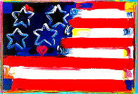 Flag With Heart III Unique 2006 18x24 Works on Paper (not prints) by Peter Max - 0