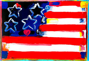 Flag With Heart III Unique 2006 18x24 Works on Paper (not prints) - Peter Max
