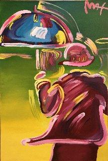 Umbrella Man 41x29 Original Painting by Peter Max
