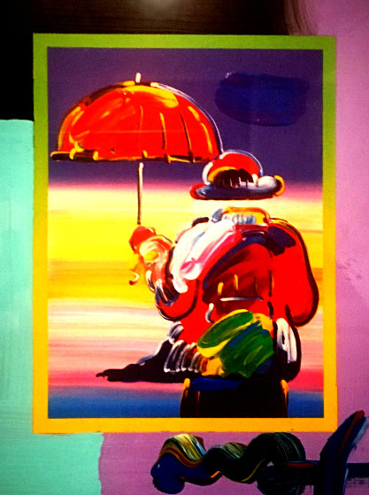 Umbrella Man on Blends: Iconic Suite 2005 24x22 Limited Edition Print by Peter Max