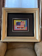 Flag With Heart 2006 24x26 Works on Paper (not prints) by Peter Max - 1