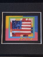 Flag With Heart 2006 24x26 Works on Paper (not prints) by Peter Max - 2
