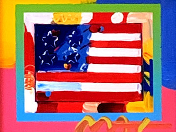Flag With Heart 2006 24x26 Works on Paper (not prints) by Peter Max