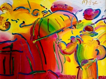 Carnival 1989 25x31 Original Painting by Peter Max