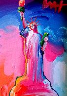 Statue of Liberty Ver IX  Unique 2016 14x12  Original Painting by Peter Max - 0