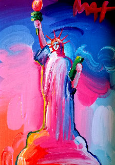 Statue of Liberty Ver IX  Unique 2016 14x12  Original Painting - Peter Max