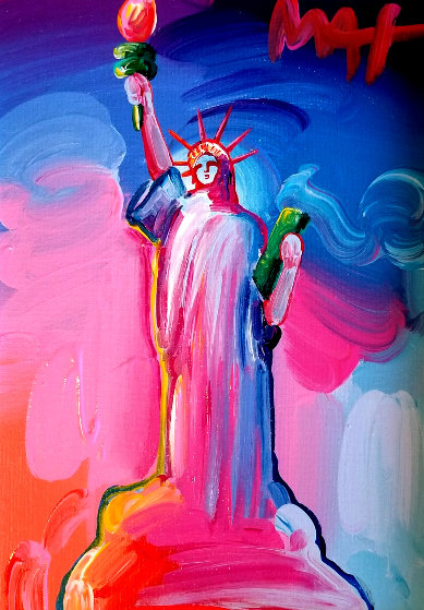 Statue of Liberty Ver IX  Unique 2016 14x12  Original Painting by Peter Max