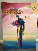 Umbrella Man Unique 2008 40x30 Original Painting by Peter Max - 1