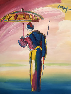 Umbrella Man Unique 2008 40x30 Original Painting - Peter Max