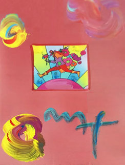 Flower Jumper Unique 2006 33x28 Works on Paper (not prints) by Peter Max