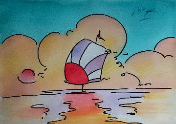 SJS: Sailboat Series 1 Ver. IV #1 24x26 Watercolor - Peter Max