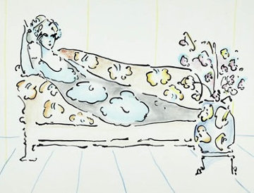 Lady on Couch 1973 Vintage Limited Edition Print - Peter Max