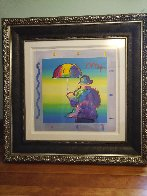Umbrella Man 2015 Unique 35x35 Works on Paper (not prints) by Peter Max - 2