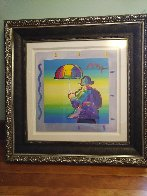 Umbrella Man 2015 Unique 35x35 Works on Paper (not prints) by Peter Max - 1