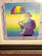 Umbrella Man 2015 Unique 35x35 Works on Paper (not prints) by Peter Max - 3
