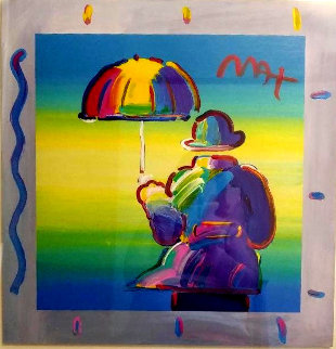 Umbrella Man 2015 Unique 35x35 Works on Paper (not prints) - Peter Max