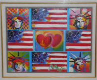 Patriotic Series, 4 Liberties, 4 Flags, And 2 Hearts Unique 2006 15x19 Works on Paper (not prints) by Peter Max - 2