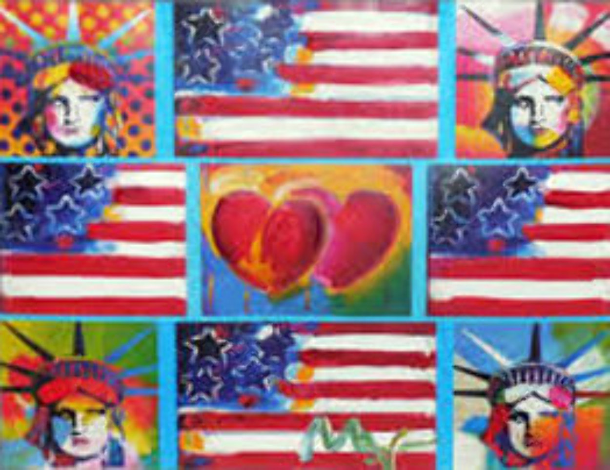 Patriotic Series, 4 Liberties, 4 Flags, And 2 Hearts Unique 2006 15x19 Works on Paper (not prints) by Peter Max