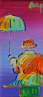 Umbrella Man on Blend Detail Ver. I, 2012 12x6 Original Painting by Peter Max