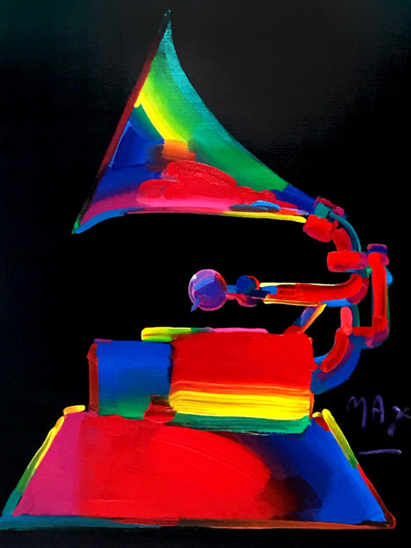 Grammy 1989 46x36 Super Huge Oil on Canvas Original Painting by Peter Max