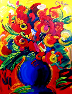 Vase of Flowers XIV 2001 67x55 Huge!  Original Painting - Peter Max