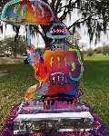 Umbrella Man Acrylic Hand Painted Unique Sculpture  2016 12 in Sculpture - Peter Max