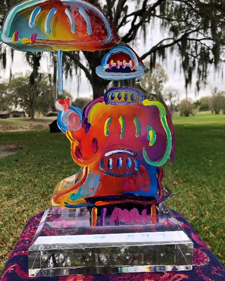 Umbrella Man Acrylic Hand Painted Unique Sculpture  2016 12 in Sculpture by Peter Max