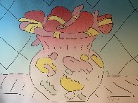 Hearts in a Vase 1982 Limited Edition Print by Peter Max - 2