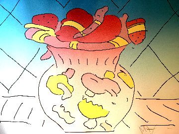 Red Vase 1982 Limited Edition Print - Peter Max
