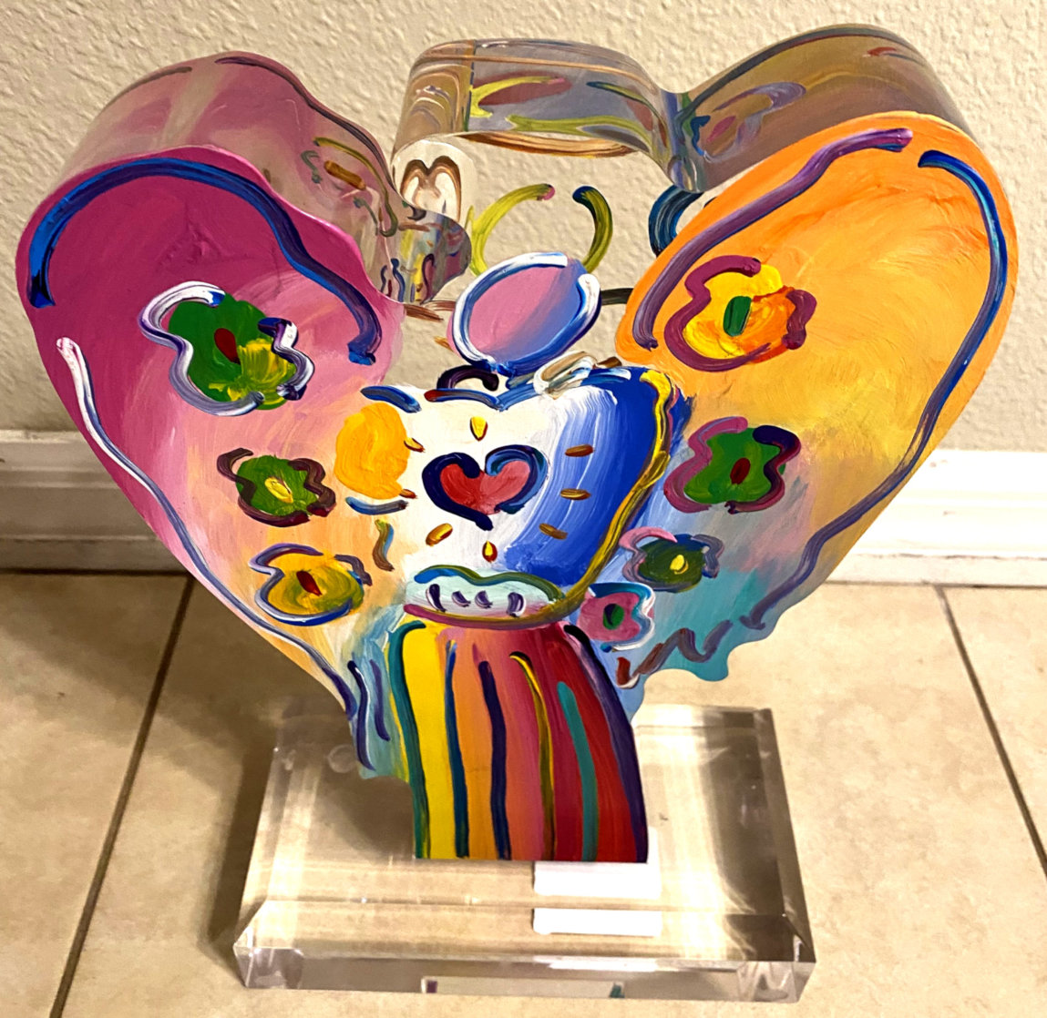 Angel With Heart Acrylic Sculpture  Sculpture by Peter Max