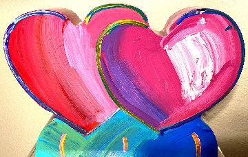 Two Hearts Acrylic Sculpture 2017 12 in Sculpture by Peter Max