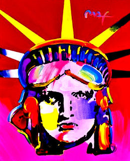 Delta Poster (Liberty) 2005 #251 Heavily Embellished Poster 2005 30x24 Works on Paper (not prints) by Peter Max