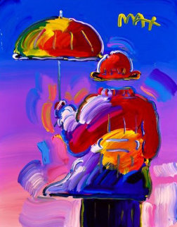 Umbrella Man on Blue Ver. I #70 Unique 2019 20x16 Works on Paper (not prints) - Peter Max