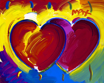 Two Hearts, Ver. I   Unique 2019 16x20  Works on Paper (not prints) by Peter Max