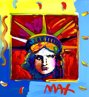 Liberty Red   Unique 14x13 Works on Paper (not prints) by Peter Max