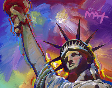 Statue of Liberty - Fireworks Ver. I #28 Heavily Embellished Print 16x20 Works on Paper (not prints) - Peter Max