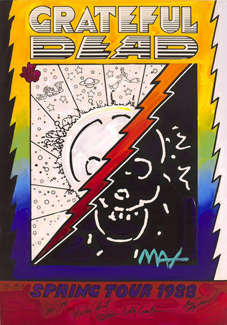 Grateful Dead Ver. II #133 Heavily Embellished Poster 25x17 Works on Paper (not prints) by Peter Max