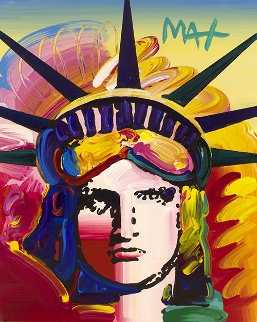 Liberty Head Ver. IX #3 Heavily Embellished Poster  2019 20x16 Works on Paper (not prints) by Peter Max