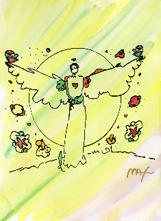 Angel With Heart 15x11 Works on Paper (not prints) by Peter Max
