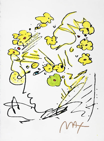 Profile With Yellow Flowers   15x11 Works on Paper (not prints) by Peter Max