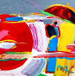 New Moon #53 1997 20x20 Works on Paper (not prints) - Peter Max
