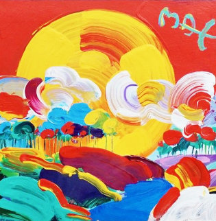 Without Border Unique 1998 20x20 Works on Paper (not prints) - Peter Max