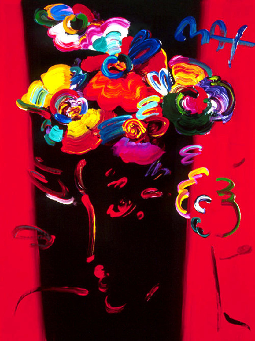 Nicolae Gallerie #128 Heavily Embellished Poster 1998 32x24 Works on Paper (not prints) by Peter Max