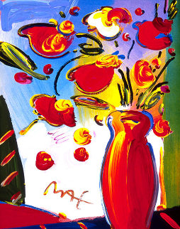 Faciliti-link: Flowers #152 Poster 1998 Heavily Embellished 22x18 Works on Paper (not prints) - Peter Max