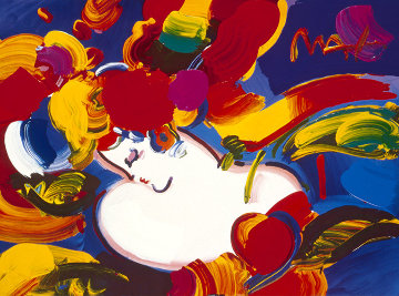 Flower Blossom Lady Heavily Embellished Poster  199917x24 Works on Paper (not prints) by Peter Max