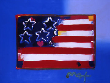 Flag With Heart Series III Heavily Embellished Poster 2006 18x24  Works on Paper (not prints) by Peter Max