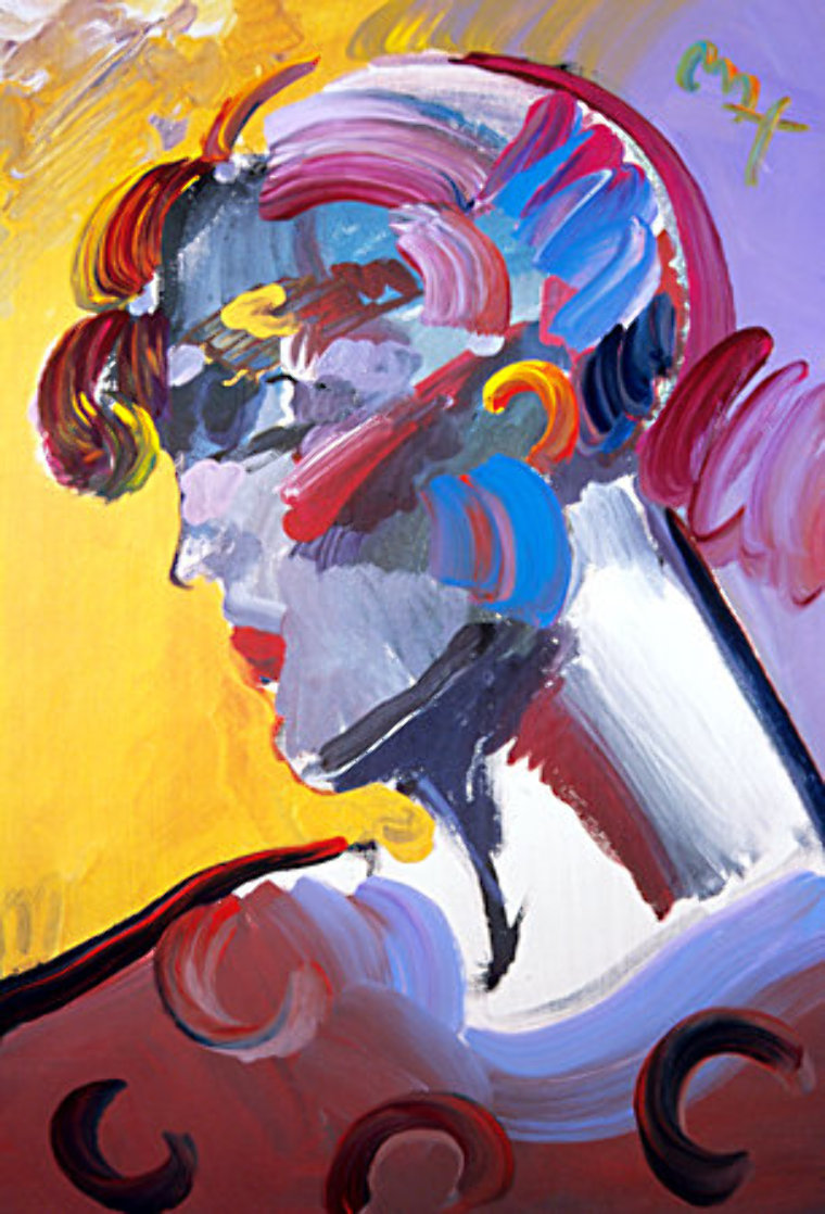 Palm Beach Lady 2007 Heavily Embellished Poster 36x24 Works on Paper (not prints) by Peter Max