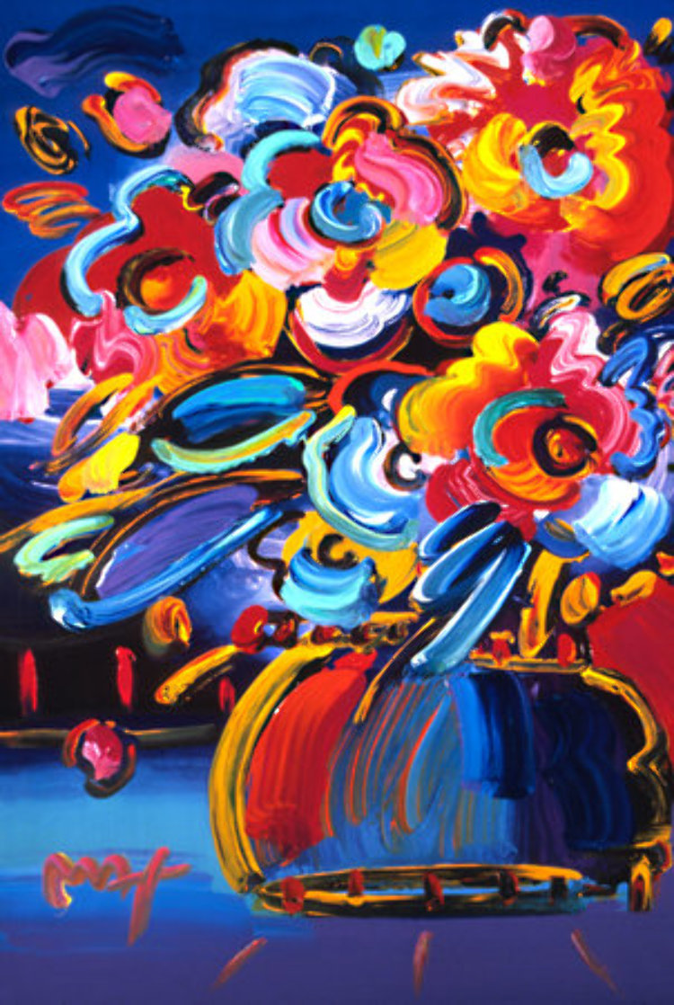 Flowers (Blue) Heavily Embellished Print 2008  36x24 Works on Paper (not prints) by Peter Max